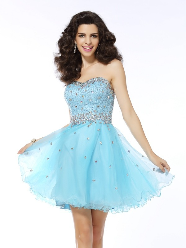 A-Line/Princess Sweetheart Organza Sleeveless Short Cocktail Dresses With Ruffles