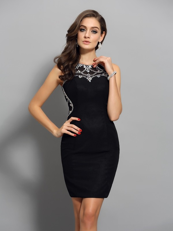 Sheath/Column Scoop Sleeveless Short Chiffon With Beading Cocktail Dresses