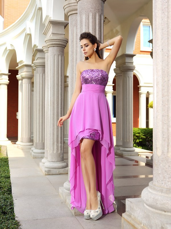 Strapless A-Line/Princess Sleeveless High Low Chiffon Cocktail Dresses With Beading