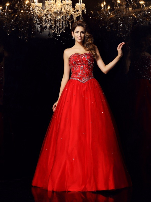 Ball Gown Sweetheart Satin Sleeveless With Beading Long Quinceanera Dresses