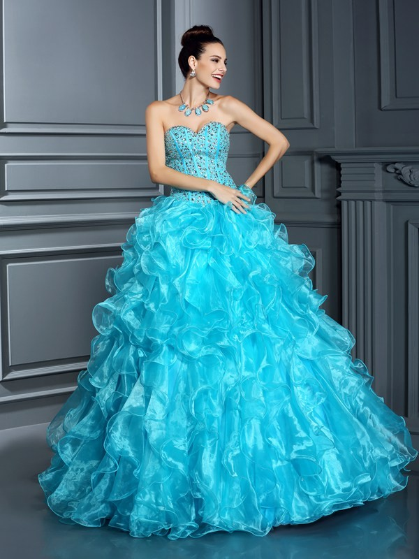 Ball Gown Sweetheart Sleeveless Organza With Beading Long Quinceanera Dresses