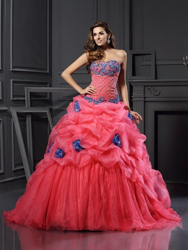 Ball Gown Organza Sweetheart Sleeveless With Beading Long Quinceanera Dresses