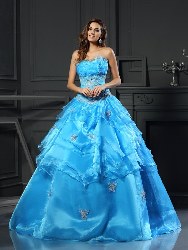 Ball Gown Organza Sweetheart Sleeveless Long Quinceanera Dresses With Beading