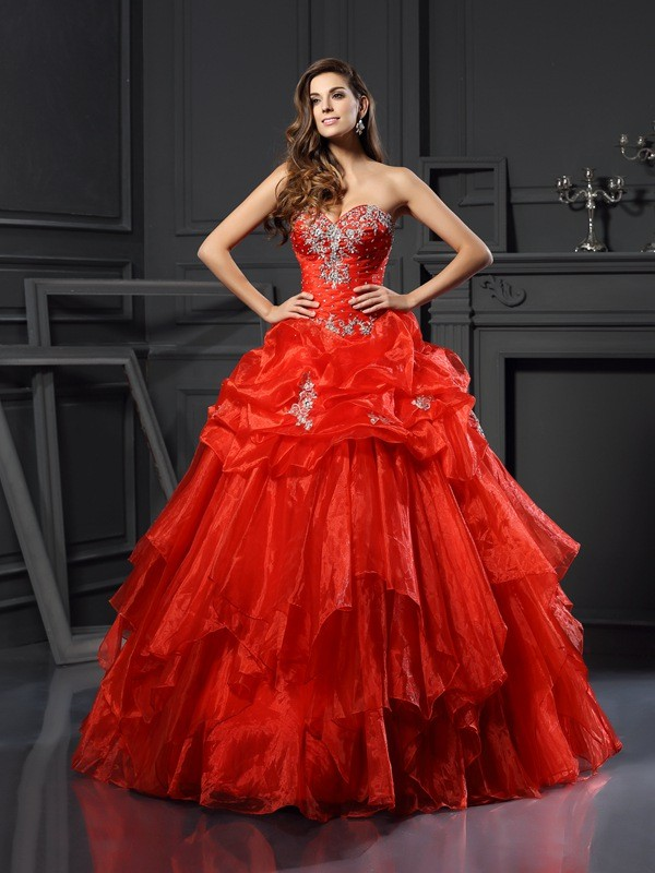 Ball Gown Sweetheart Tulle With Beading Sleeveless Long Quinceanera Dresses