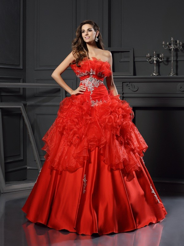 Ball Gown Strapless Organza Sleeveless Long Quinceanera Dresses With Ruffles