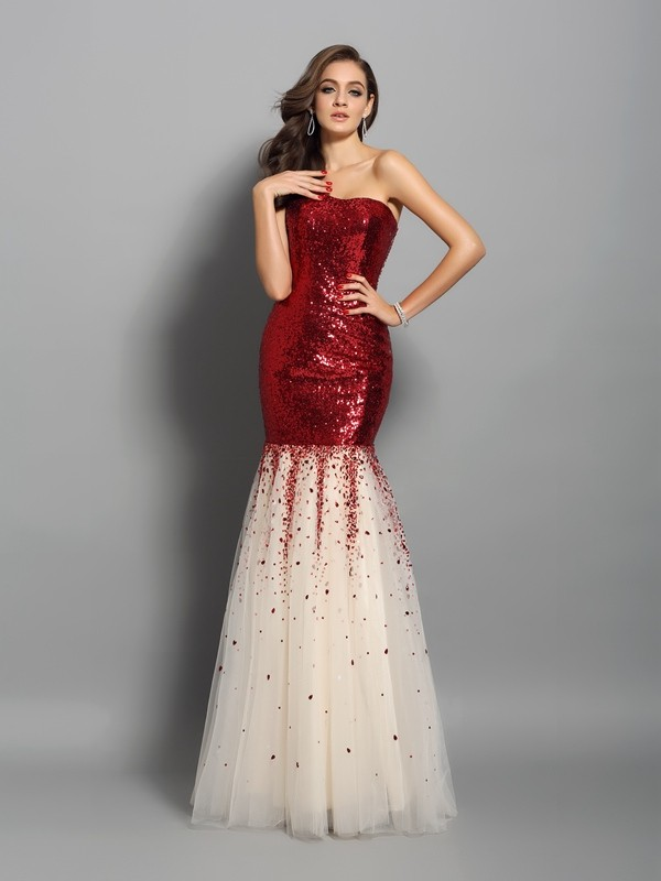 One-Shoulder Trumpet/Mermaid Sleeveless Long Dresses With Sequins
