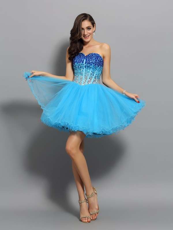 A-Line/Princess Sweetheart Sleeveless Short Satin Cocktail Dresses With Ruffles