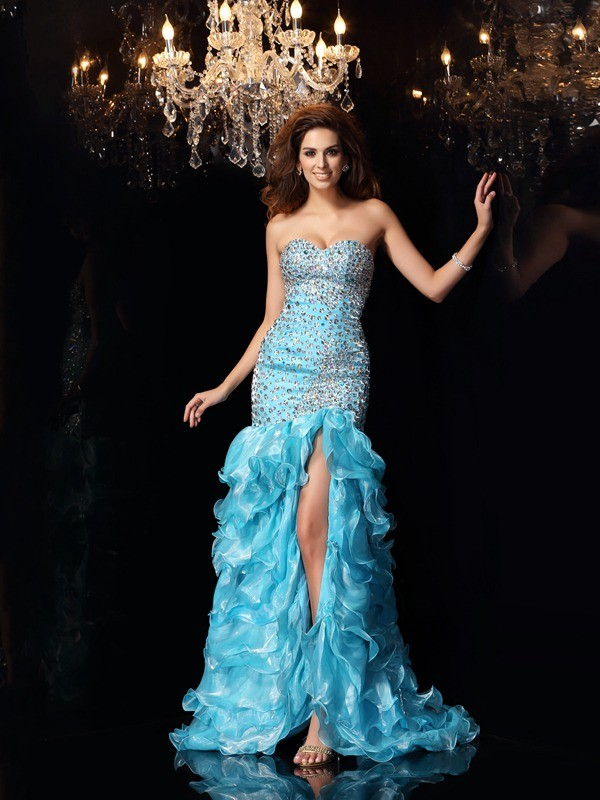 Trumpet/Mermaid Organza Sweetheart Sleeveless High Low Dresses With Beading