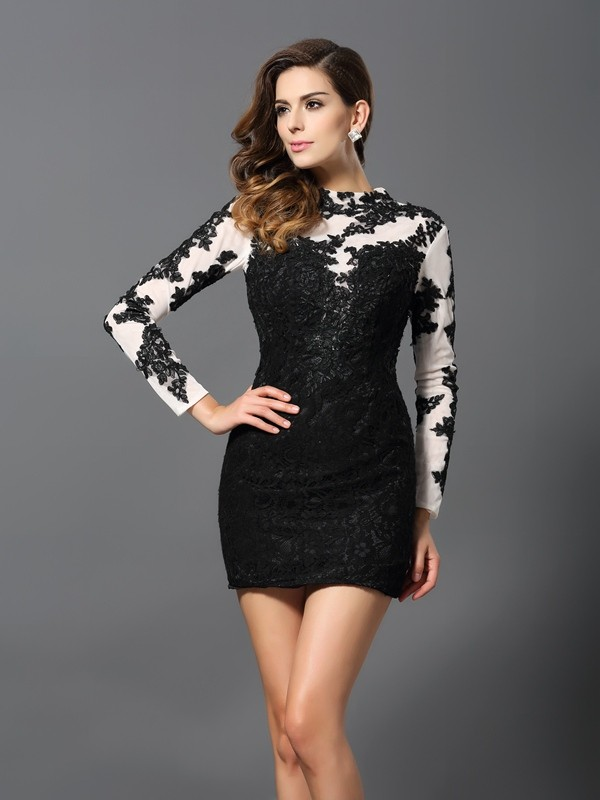 Sheath/Column High Neck Long Sleeves Short Lace Cocktail Dresses With Applique