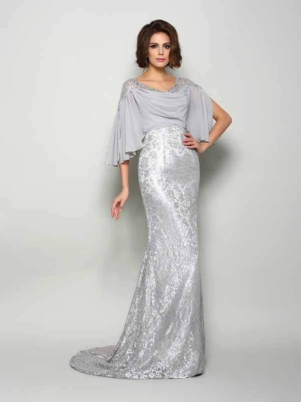 Trumpet/Mermaid Scoop Lace Chiffon 1/2 Sleeves Long Mother of the Bride Dresses