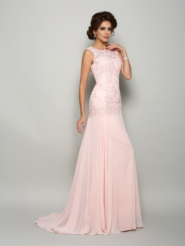 Attractive Mermaid Scoop Sleeveless Chiffon With Beading Sweep/Brush Train Mother of the Bride Dresses