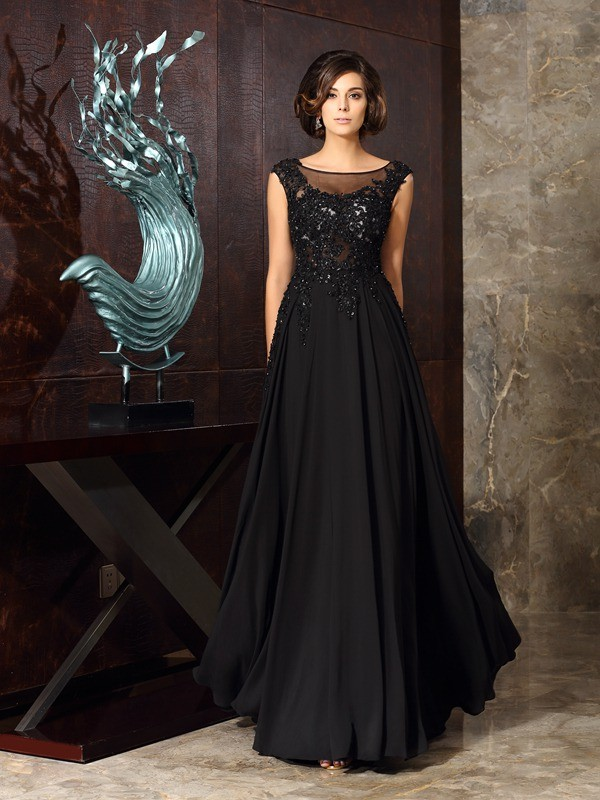 A-Line/Princess Scoop Chiffon With Applique Sleeveless Long Mother of the Bride Dresses