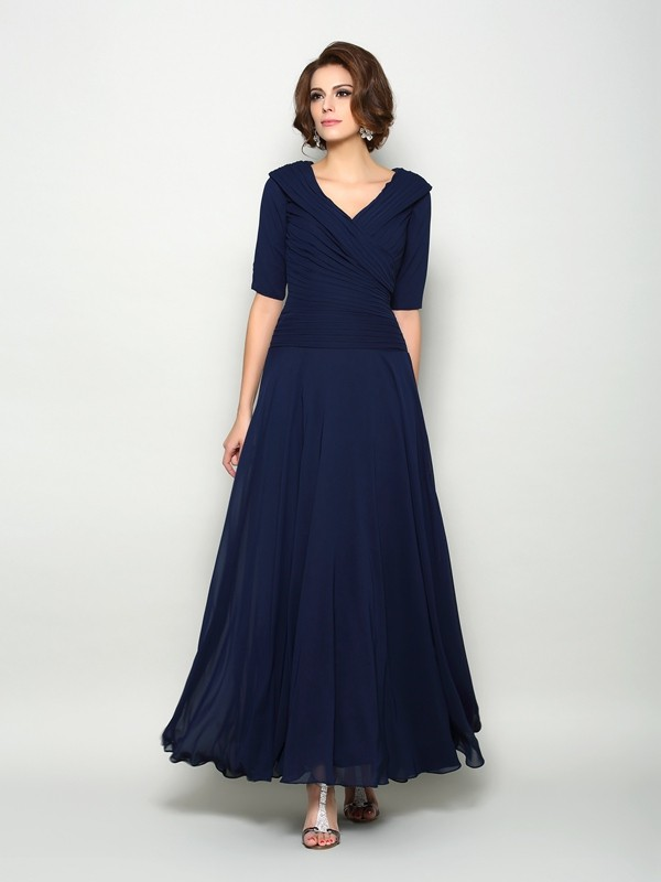 A-Line/Princess V-neck 1/2 Sleeves Chiffon Ankle-Length Mother of the Bride Dresses