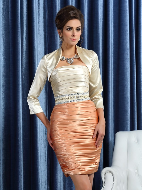 Silk like Satin Sheath/Column Strapless With Ruched Sleeveless Short Mother of the Bride Dresses