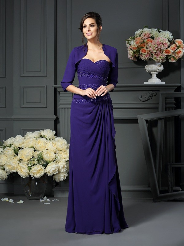 A-Line/Princess Sweetheart Sleeveless Long Chiffon Mother of the Bride Dresses With Beading