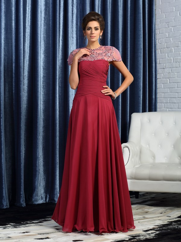 A-Line Sweetheart Sleeveless Long Chiffon Mother of the Bride Dresses With Ruched