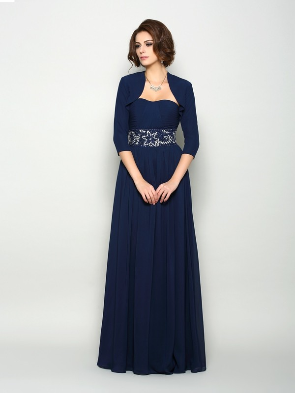 A-Line/Princess Sweetheart Chiffon With Beading Sleeveless Long Mother of the Bride Dresses