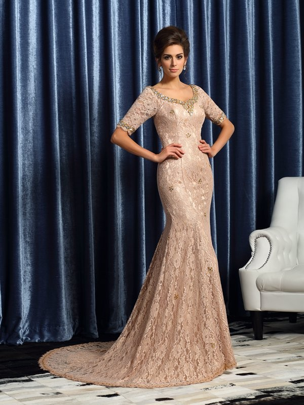 Trumpet/Mermaid Elastic Woven Satin V-neck Lace Sleeveless Long Mother of the Bride Dresses