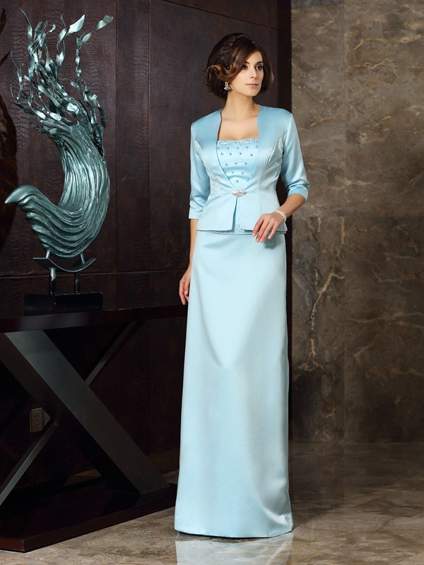 Strapless Sheath/Column Sleeveless Long Satin Mother of the Bride Dresses