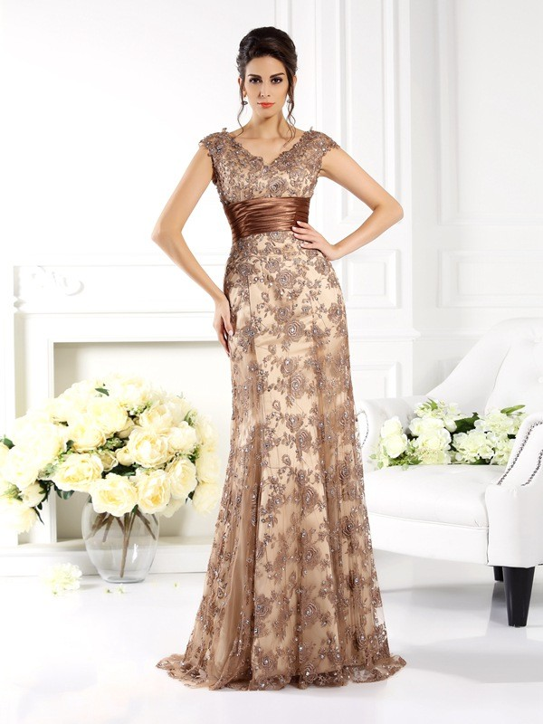 A-Line/Princess V-neck Lace With Ruffles Sleeveless Sweep/Brush Train Mother of the Bride Dresses
