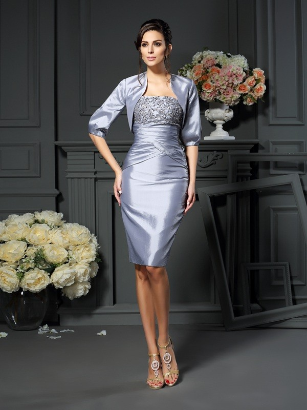 Sweetheart Sheath/Column Sleeveless Short Taffeta Mother of the Bride Dresses