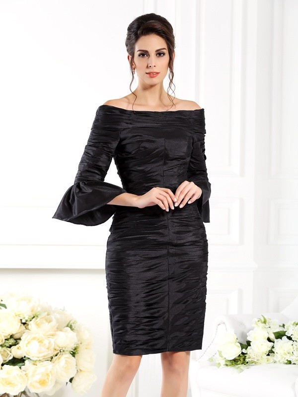 Off-the-Shoulder Sheath/Column With Ruched 1/2 Sleeves Short Taffeta Mother of the Bride Dresses