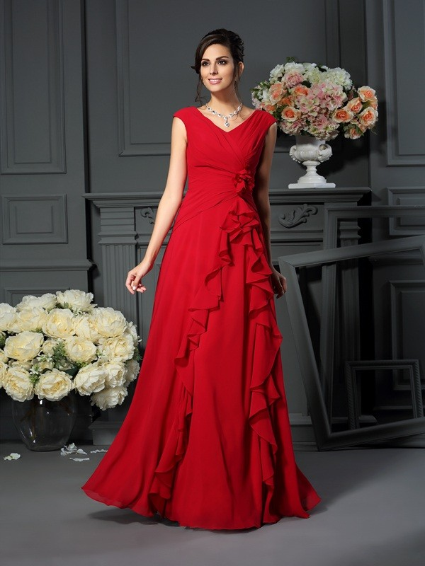 A-Line V-neck Hand-Made Flower Chiffon Sleeveless Long Mother of the Bride Dresses