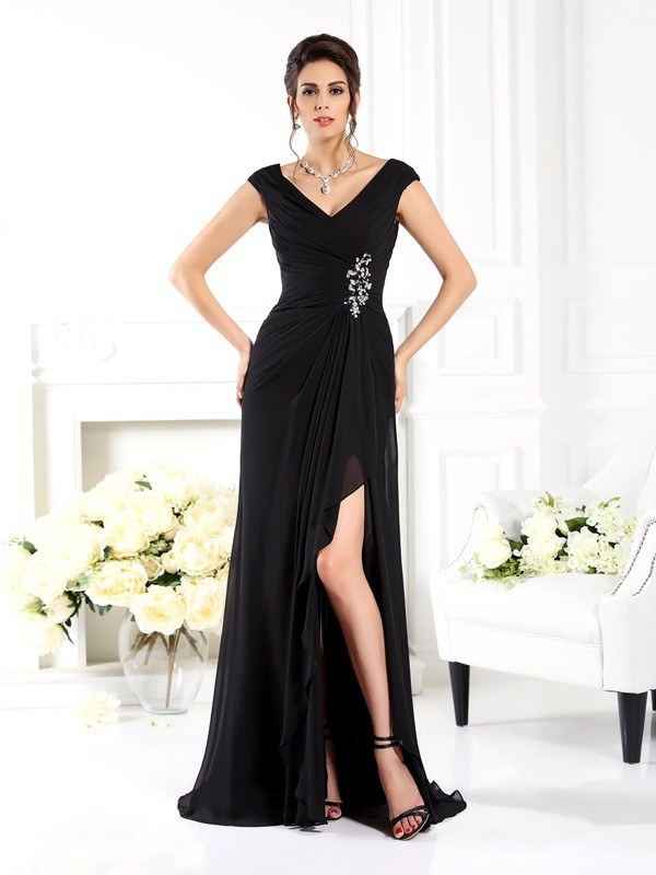 A-Line/Princess V-neck Sleeveless Long Chiffon Mother of the Bride Dresses With Ruffles