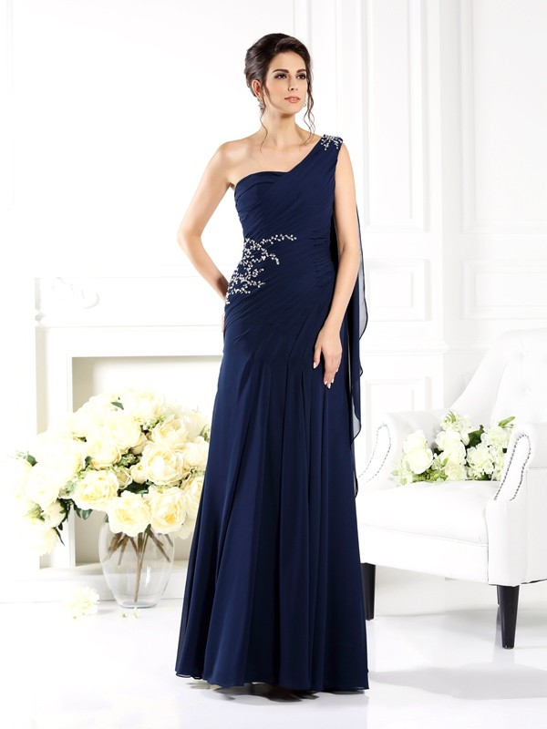 One-Shoulder Sheath/Column Sleeveless Long Chiffon Mother of the Bride Dresses