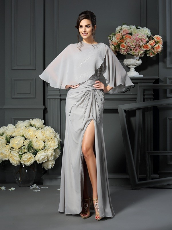 One-Shoulder Trumpet/Mermaid Sleeveless Long Chiffon Mother of the Bride Dresses With Beading