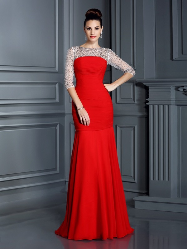 Trumpet/Mermaid Scoop With Beading 3/4 Sleeves Floor-Length Chiffon Dresses