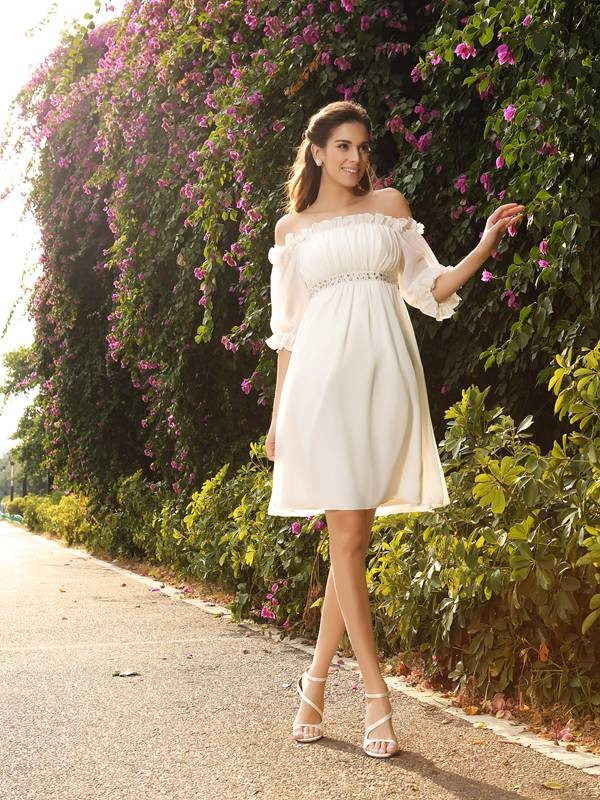 Off-the-Shoulder A-Line/Princess With Beading 1/2 Sleeves Short Chiffon Wedding Dresses