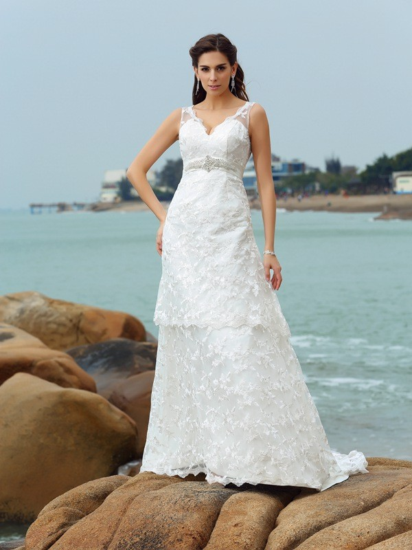 A-Line/Princess Straps Sleeveless With Applique Long Satin Beach Wedding Dresses