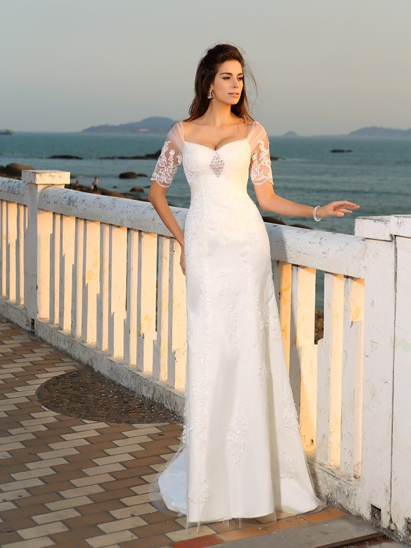 Sheath/Column Sweetheart Short Sleeves With Applique Long Satin Beach Wedding Dresses