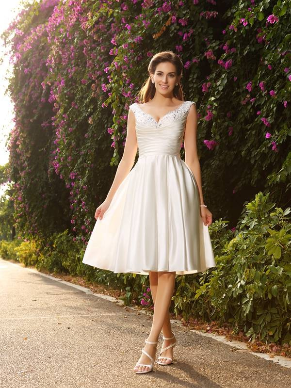 A-Line/Princess V-neck Sleeveless With Beading Satin Knee-Length Wedding Dresses