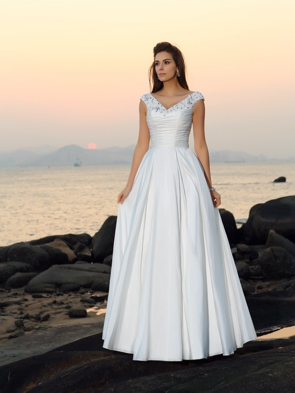 A-Line/Princess V-neck Sleeveless Long Taffeta Beach Wedding Dresses With Beading