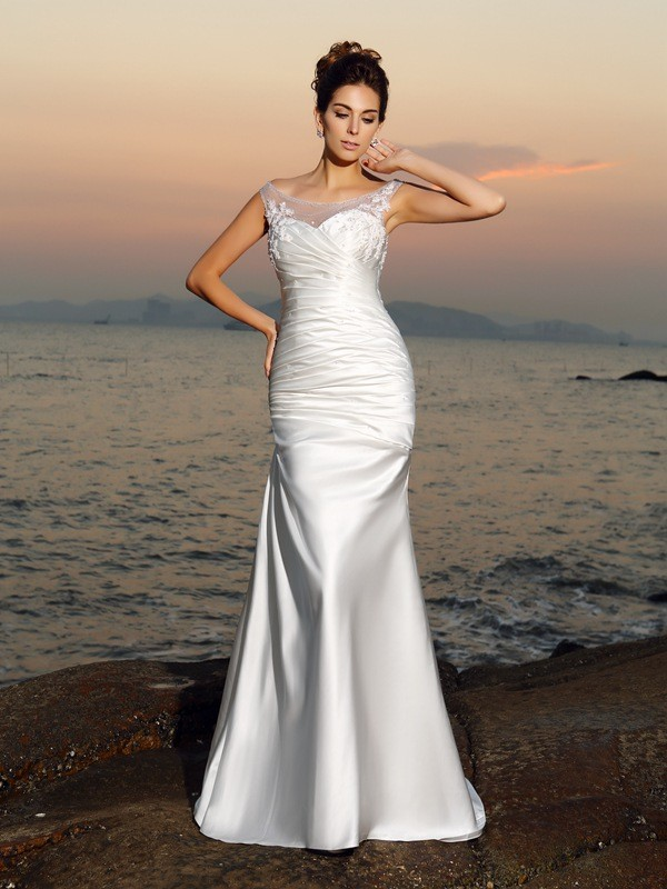 Trumpet/Mermaid Scoop Sleeveless Long Satin Beach Wedding Dresses With Beading