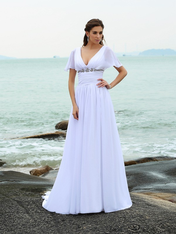 A-Line/Princess Sweep/Brush Train V-neck Short Sleeves Chiffon Wedding Dresses With Ruffles