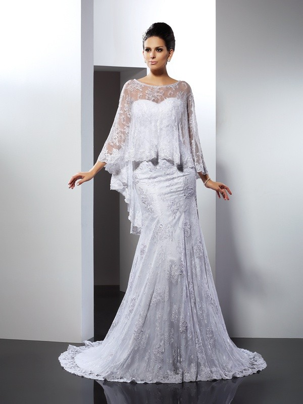 Trumpet/Mermaid Sleeveless Sweetheart Long Lace Wedding Dresses With Applique