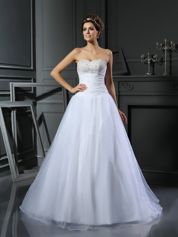 Ball Gown Sweetheart Satin Sleeveless Long Wedding Dresses With Beading