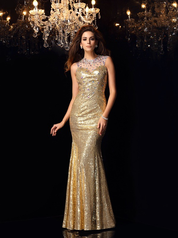 Trumpet/Mermaid High Neck Sleeveless Long Prom Dresses With Sequins