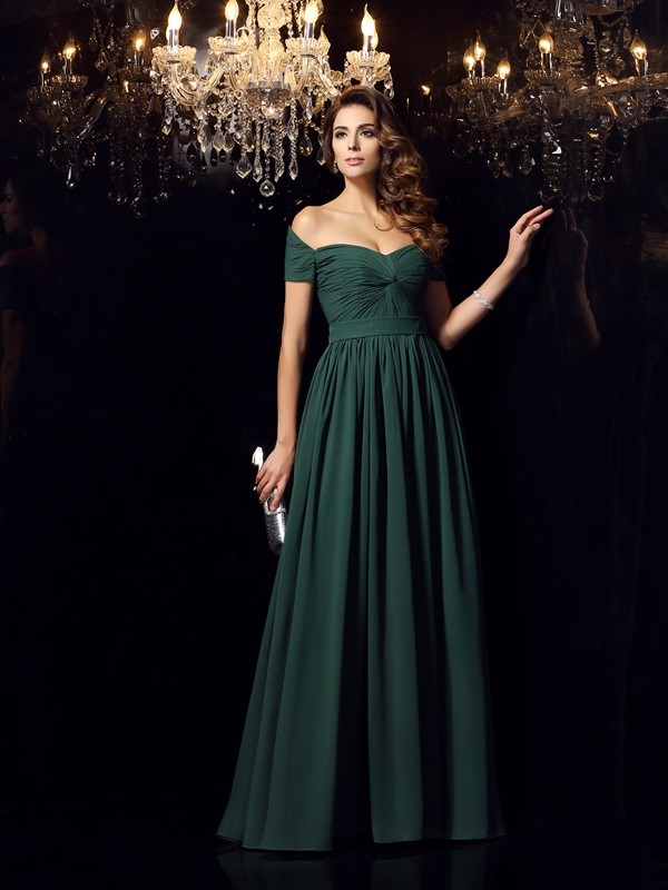 Off-the-Shoulder A-Line/Princess Sleeveless Long Chiffon Dresses With Ruched