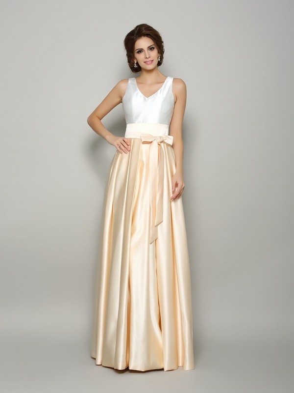 A-Line/Princess V-neck Satin Bowknot Sleeveless Long Mother of the Bride Dresses