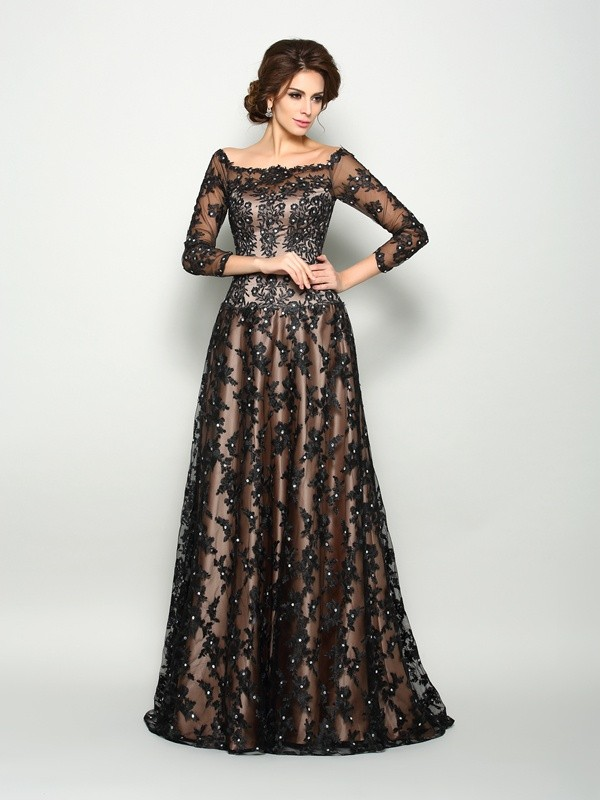 Off-the-Shoulder A-Line/Princess Lace 3/4 Sleeves Long Satin Mother of the Bride Dresses