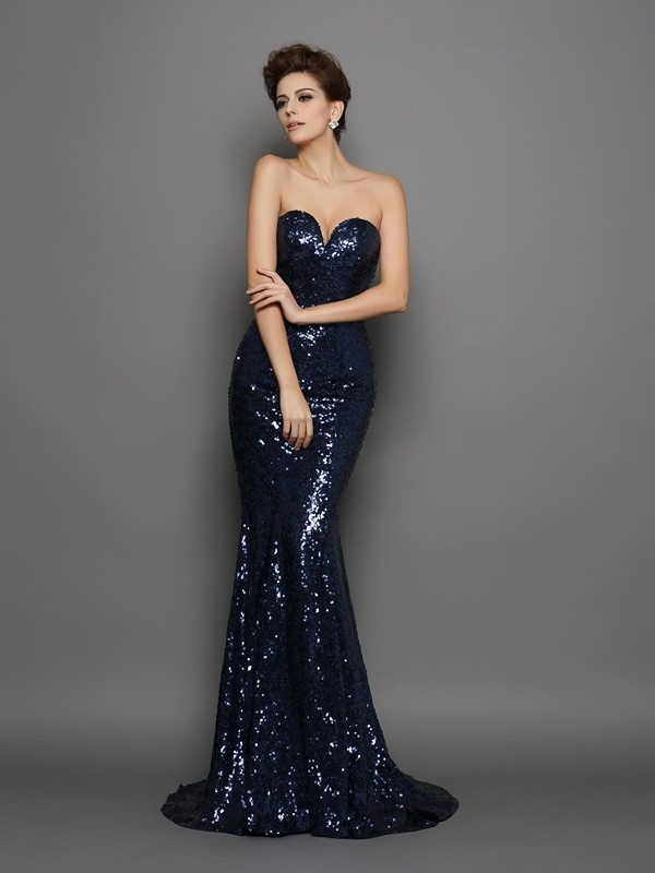 Sequin Trumpet/Mermaid Sweetheart Sleeveless Long Dresses With Sequins