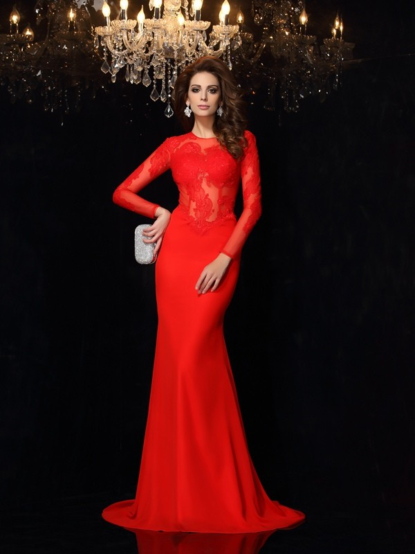 Sheath/Column Scoop Lace Long Sleeves Court Train Chiffon Dresses