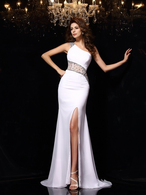 Sheath/Column One-Shoulder Sleeveless With Beading Long Chiffon Dresses