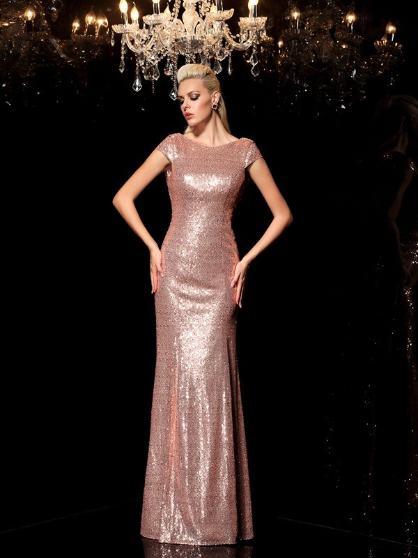 Stylish Sequin Sheath/Column Scoop Sleeveless Long Dresses With Sequins
