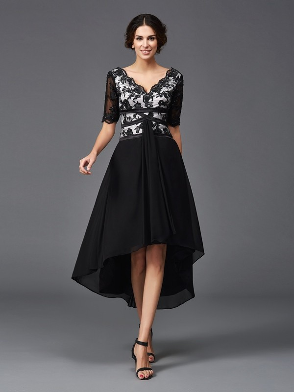 Flawless A-Line/Princess V-neck Lace 1/2 Sleeves High Low Chiffon Dresses