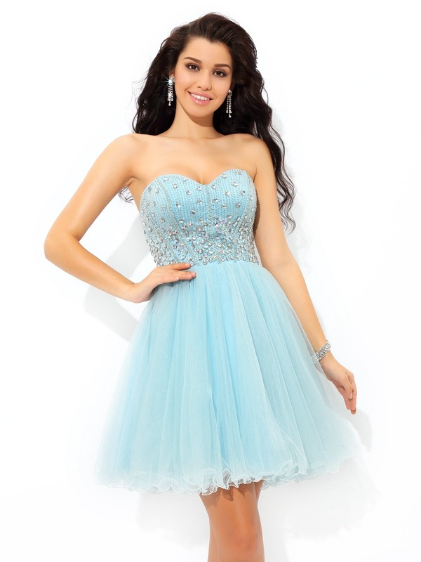 Charming A-Line/Princess Sweetheart Short Sleeveless Satin Dresses With Beading
